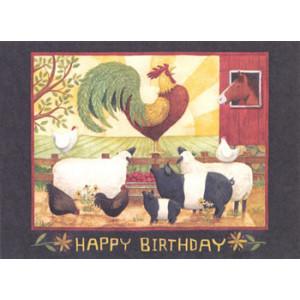 Rooster Sheep Pigs Horse Greeting Card by Teresa Kogut