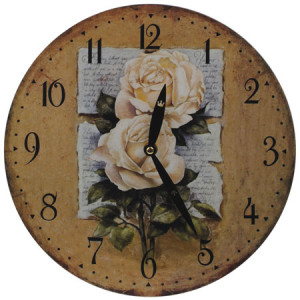 Cream Roses Round Wall Clock