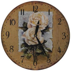 Cream Roses Round Wall Clock