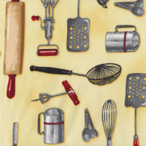 Kitchen Utensils on Yellow Kiss The Cook Quilt Fabric