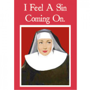 I Feel A Sin Coming On Retro Greeting Card