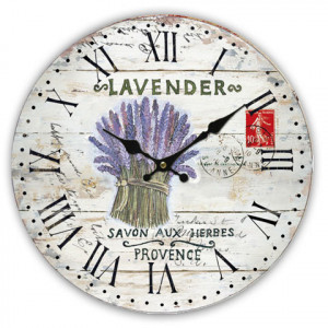 Lavender Flowers Round Wall Clock
