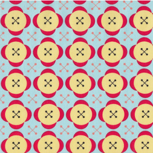 Yellow & Red Buttons on Blue Little Menagerie Quilt Fabric