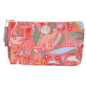 Cosmetic Beauty Makeup Storage Toiletry Travel Bag Down Under Coral Small