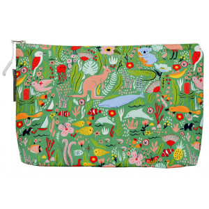Cosmetic Beauty Makeup Storage Toiletry Travel Bag Down Under Green Large