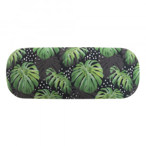 Spotty Monstera Design Glasses Case and Eyeglasses Cleaning Cloth