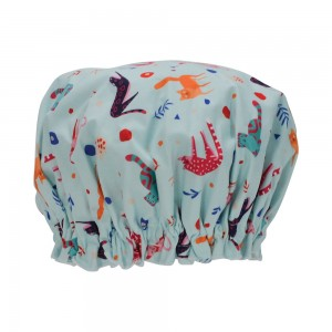 Ladies Girls Elasticised Shower Cap Retro Cat Blue Design Australian Made
