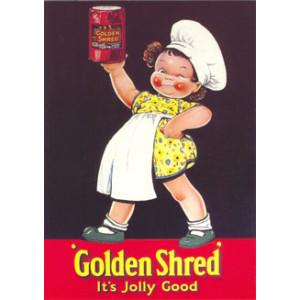 Golden Shred Girl Nostalgic Postcard