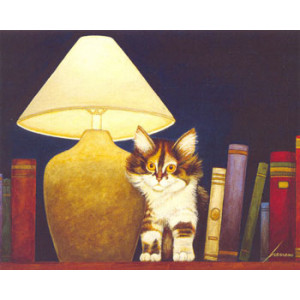 Cat on Book Shelf Lowell Herrero Card