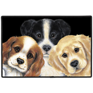 Peeping Puppies Dogs Non-Slip Rubber Backed Doormat