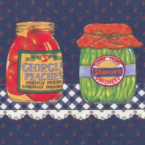 Preserves in Jars on Navy Quilting Fabric
