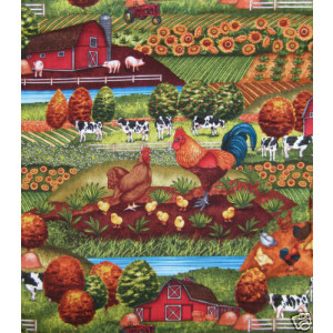Cows Roosters Down on The Farm Quilt Fabric