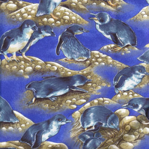 New Zealand NZ Penguins on Blue Quilting Fabric