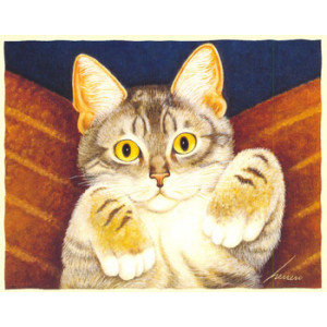 Playful Kitten Greeting Card by Lowell Herrero