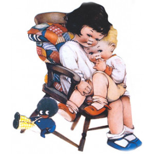Girls in Rocking Chair Golliwog Postcard