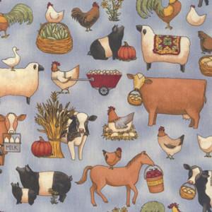 Teresa Kogut Farm Animals on Blue Quilt Fabric