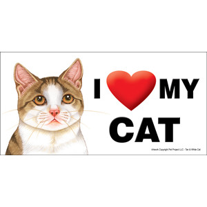 I Love My Cat Fridge Office Fun Magnet Tan and White
