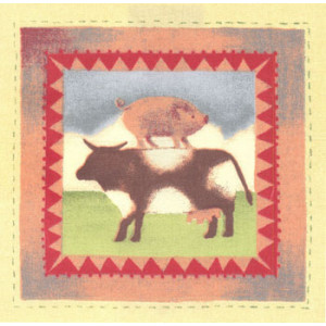 Cow & Pig Fabric Panel