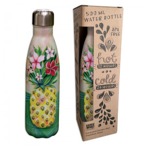 Pineapple Flowers Water Bottle Insulated Double Wall Stainless Steel