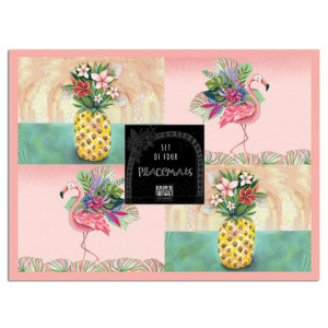Placemats Cork Backed Tropical Set of 4