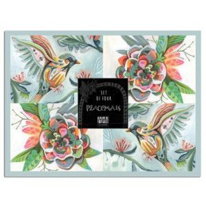 Placemats Cork Backed Bird and Flower Set of 4