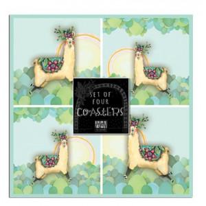 Coasters Cork Backed Drink Llama Love Set of 4