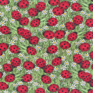 Ladybirds Ladybugs & Daisies Quilt Fabric