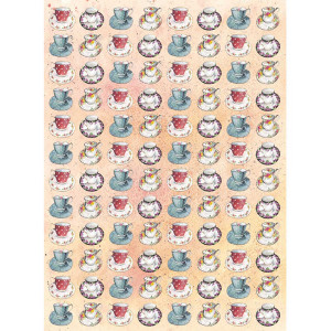 Kitchen Tea Towel 100% Cotton Teacups Design By Alex Clark