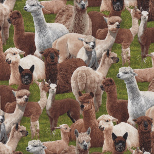 Alpacas on Green Grass Farm Animal Quilt Fabric