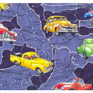 Holden Cars Australian Map Navy Blue Quilting Fabric