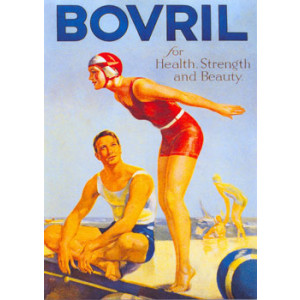 Bovril Girl Diving Nostalgic Postcard