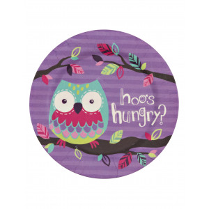 Little Blue House Party Owls Kids Bamboo Plate