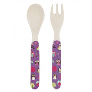 Little Blue House Party Owls Kids Bamboo Fork Spoon Utensil Set