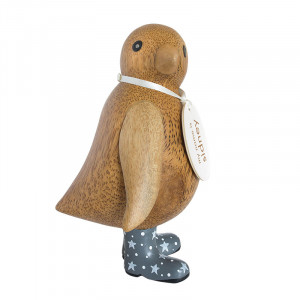 Baby Emperor Penguin Wooden Ornament Grey Night Sky Boots