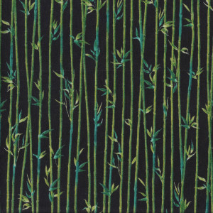 Bamboo and Leaves on Black Quilt Fabric