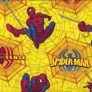 Spiderman on Yellow Spider Web Quilt Fabric