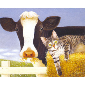 Cow and Cat Greeting Card by Lowell Herrero