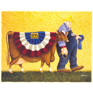 First Prize Farmer and Cow Greeting Card by Lowell Herrero