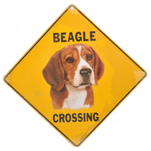 Beagle Dog Crossing Road Sign