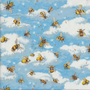 Bees in Blue Sky with White Clouds Quilt Fabric