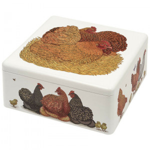 Hen and Baby Chickens Steel Biscuit Tin by Vanessa Lubach