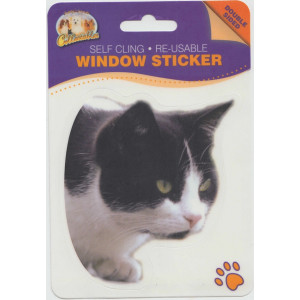 Black and White Cat Self Cling Re-usable Window Sticker