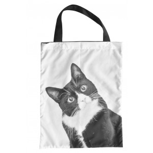 Curious Black and White Cat Design Polyester Eco Shopping Bag