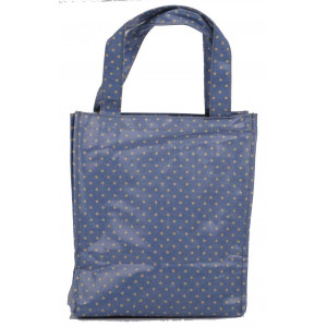 Blue Polka Dot Oil Cloth Small Fashion Shopping Bag