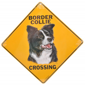 Border Collie Dog Crossing Road Sign