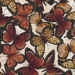Brown Butterflies Quilt Fabric