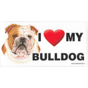 I Love My Bulldog Fridge Office Fun Magnet