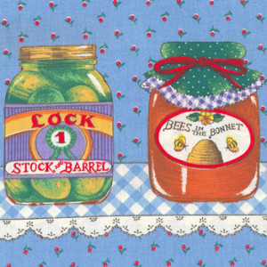 Preserves In Jars On Blue Quilting Fabric