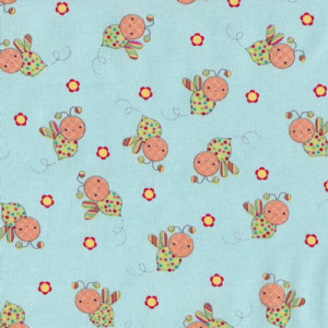 Bees on Blue Little Menagerie Quilt Fabric