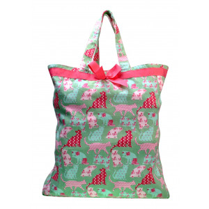 Reusable Grocery Shopping Tote Carry Bag 100% Cotton Cats on Green